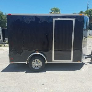6x10 SA Trailer - Black, Double Barn Doors, Side Door, Extra Height