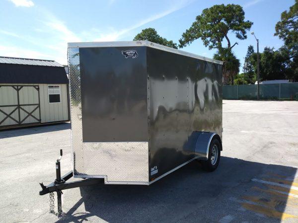6x10 SA Trailer - Charcoal Grey, Double Barn Doors, Side Door, Extra Height, Cabinets