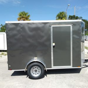 6x10 SA Trailer - Charcoal Grey, Double Barn Doors, Side Door, Extra Height, Cabinets