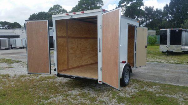 6x10 SA Trailer - White, Double Barn Doors, Side Door, Extra Height