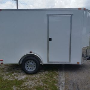 6x10 SA Trailer - White, Double Barn Doors, Side Door, Extra Height