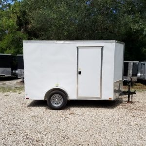 6x10 SA Trailer - White, Ramp, Side Door, Extra Height, Window, D-Rings