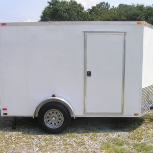 6x10 SA Trailer - White, Ramp, Side Door, Extra H, Stab Jacks
