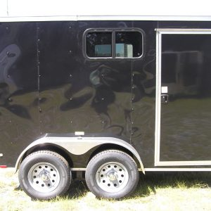 6x10 TA Trailer - Black, Double Barn Doors, Side Door, Extra Height, Windows
