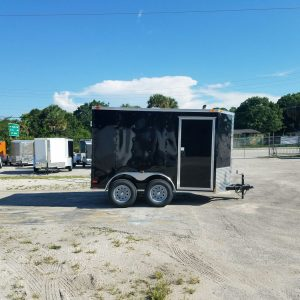 6x10 TA Trailer - Black, Double Abrn Doors, Side Door, Extra Height