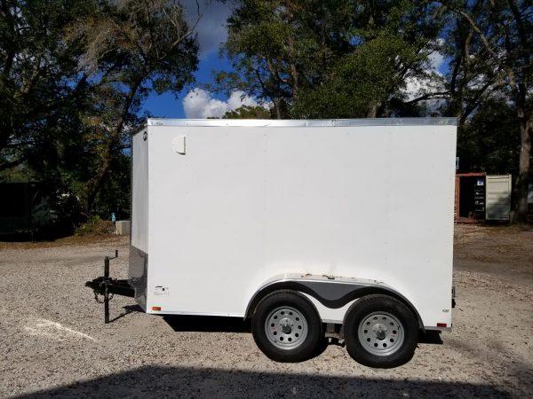 6x10 TA Trailer - White, Double Barn Doors, Side Door, Extra Height, Bar Lock