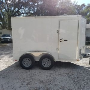 6x10 TA Trailer - White, Double Barn Doors, Side Door, Extra Height, Bar Lock