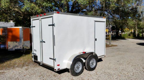 6x10 TA Trailer - White, Double Barn Doors, Side Door, Extra Height