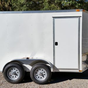 6x10 TA Trailer - White, Double Barn Doors, Side Door, Extra Height