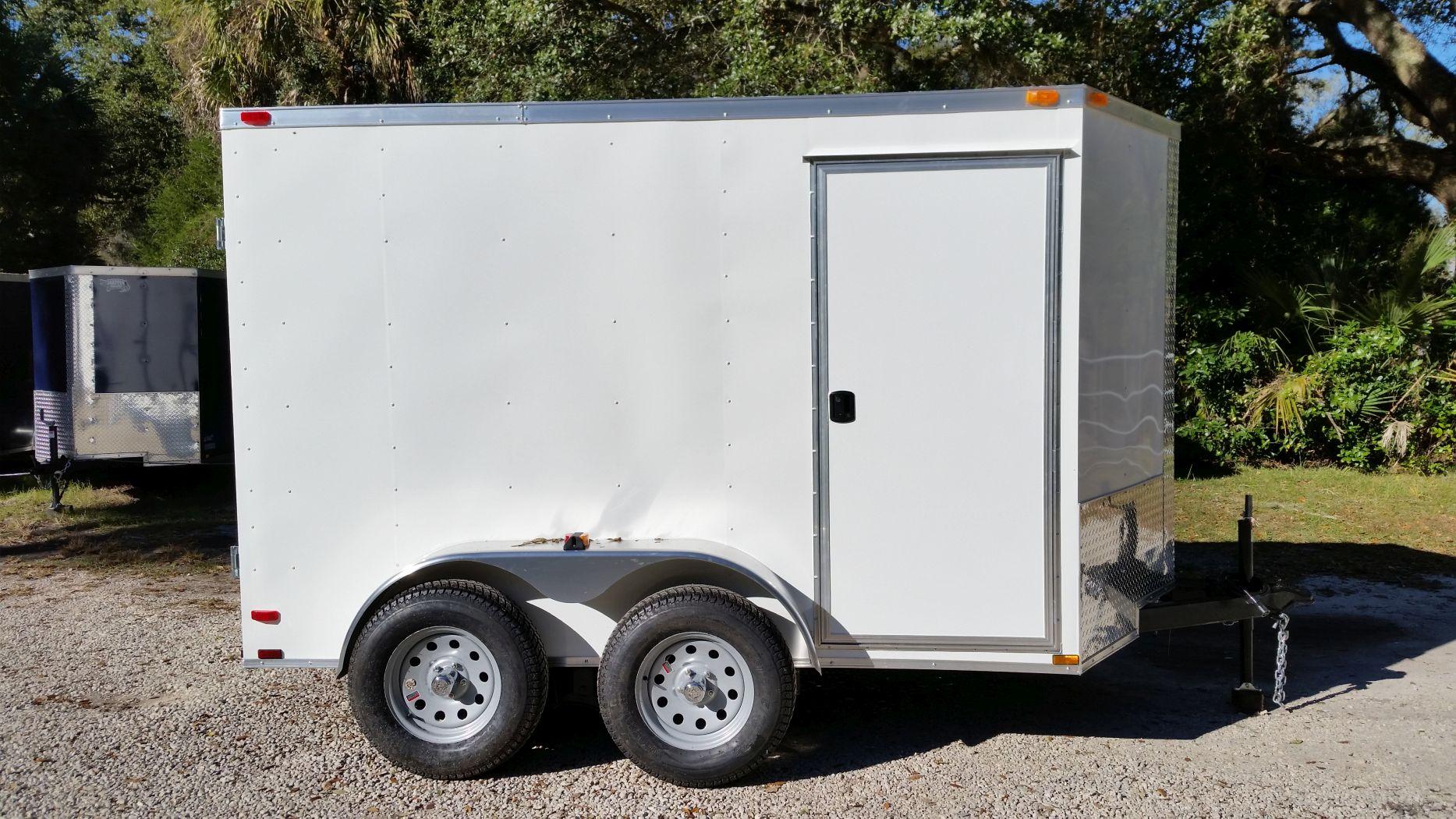 6x10 TA Trailer - White, Double Barn Doors, Side Door ...