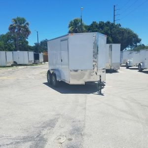 6x10 TA Trailer - White, Ramp, Side Door, Extra Height