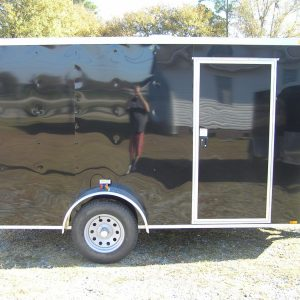 6x12 SA Trailer - Black, Double Doors, Side Door, Extra Height