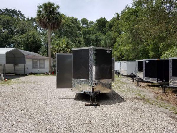 6x12 SA Trailer - White, Double Doors, Side Door, Extra Height