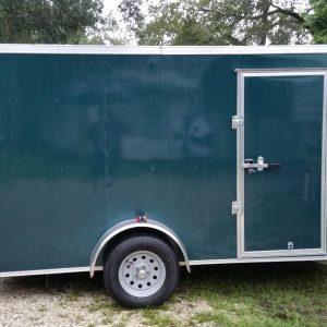 Custom 6x12 SA Trailer - Green, Ramp, Side Door, Extra Height