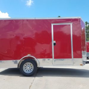 6x12 SA Trailer - Red, Double Doors, Side Door, Extra Height, ATP Wrap
