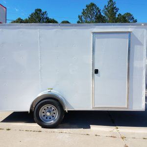 6x12 SA Trailer - White, Double Doors, Side Door, Extra Height, Side Vents