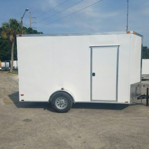 6x12 SA Trailer - White, Ramp, Side Door, Extra Height