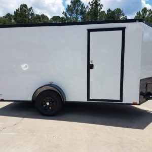6x12 SA Trailer - White, Ramp, Side Door, Extra Height, Blackout Package