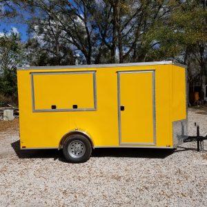 6x12 SA Trailer - Yellow, Double Doors, Side Door, Extra Height, Concession Door