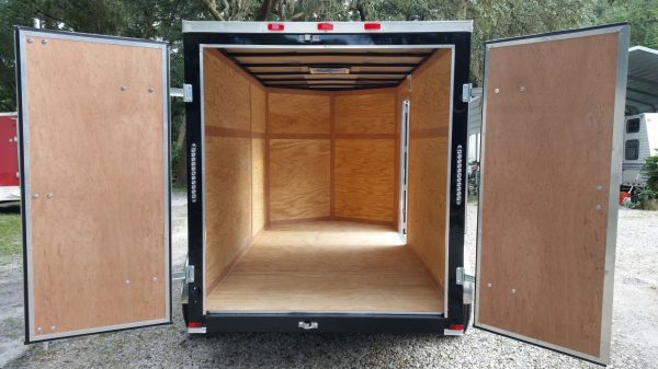6x12 TA Trailer - Black, Double Doors, Side Door, Extra Height