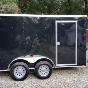 6x12 TA Trailer - Black, Double Doors, Side Door, Extra Height