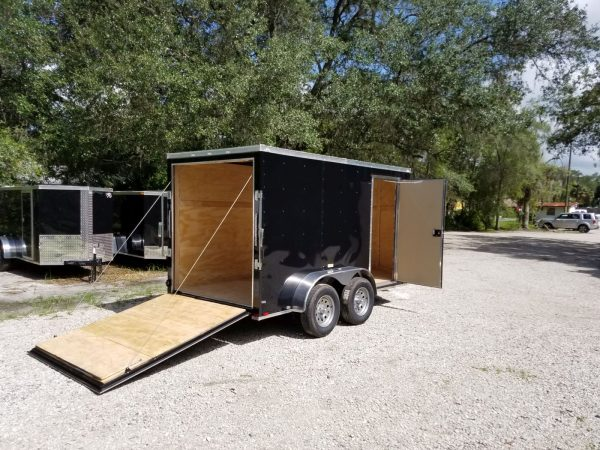 6x12 TA Trailer - Black, Ramp, Side Door, Extra Height