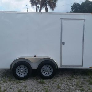 6x12 TA Trailer - White, Double Doors, Side Door, Extra Height