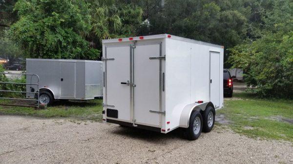6x12 TA Trailer - White, Double Doors, Side Door, Extra Height
