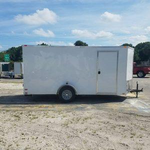 6x14 SA Trailer - White, Double Doors, Side Door, Extra Height