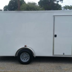 6x14 SA Trailer - White, Ramp, Side Door, Extra Height