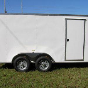 6x14 TA Trailer - White, Rear Double Doors, Side Door, Extra Height