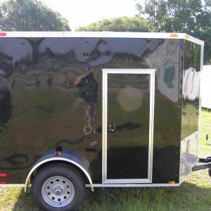 6x8 SA Trailer - Black, Ramp, Side Door, Extra Height