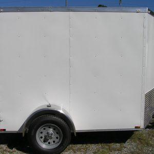 6x8 SA Trailer - White, Double Barn Doors, Extra Height