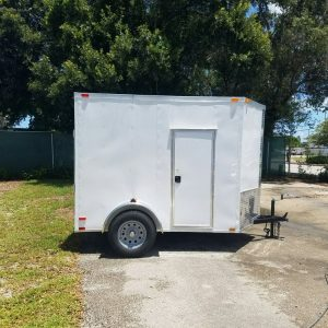 6x8 SA Trailer - White, Ramp, Side Door, Extra Height