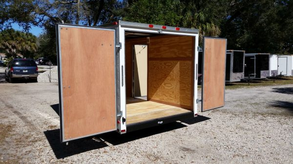 7x10 SA Trailer - White, Barn Doors, Side Door, Extra Height, Electric Brakes