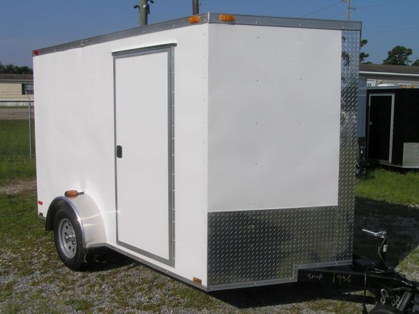 7x10 SA Trailer - White, Ramp, Side Door, Extra Height, Electric Brakes