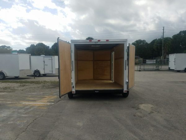 7x10 TA Trailer - White, Barn Doors, Side Door, Extra Height