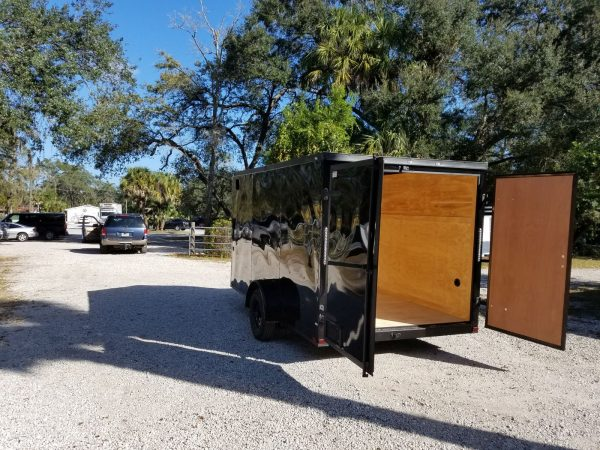 7x12 SA Trailer - Black with Blackout Package, Barn Doors, Side Door, Brakes, Extra Height