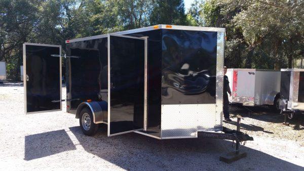 7x12 SA Trailer - Black, Barn Doors, Side Door, Brakes, Extra Height