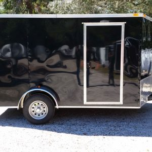 7x12 SA Trailer - Black, Barn Doors, Side Door, Brakes, Extra Height