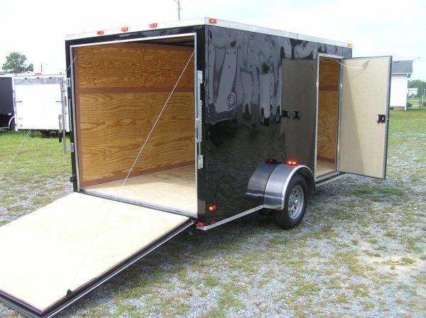 7x12 SA Trailer - Black, Ramp, Side Door, Brakes, Extra Height