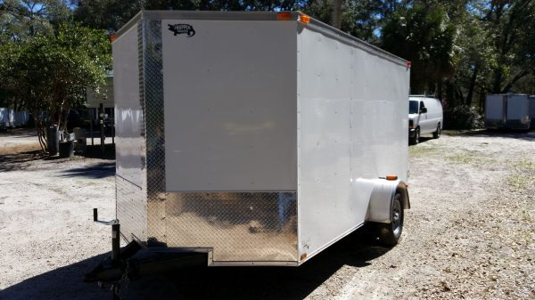 7x12 SA Trailer - White, Barn Doors, Side Door, Brakes, Extra Height