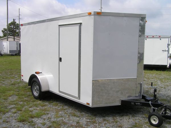 7x12 SA Trailer - White, Ramp, Side Door, Brakes, Extra Height