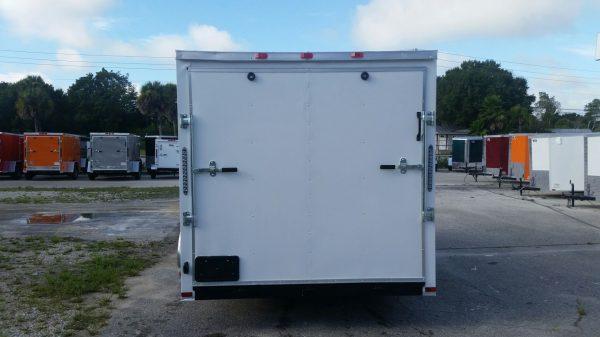 7x12 SA Trailer - White, Ramp, Side Door, Brakes, Extra Height