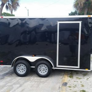7x12 TA Trailer - Black, Ramp, Side Door, Extra Height