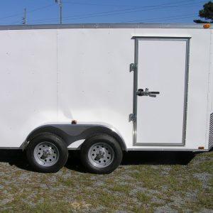 7x12 TA Trailer - White, Ramp, Side Door, Extra Height, E-Track