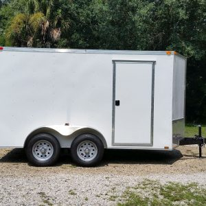 7x12 TA Trailer - White, Ramp, Side Door, Extra Height