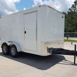 7x12 TA Trailer - White, Flat Ront, Ramp, Side Door, 5200 lbs Axles, Extra Height