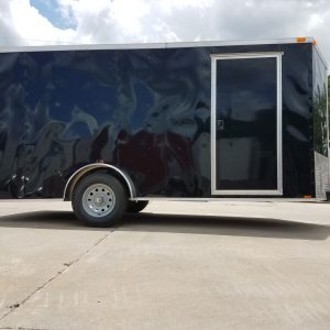 7x14 SA Trailer - Black, Ramp, Side Door, Brakes, Extra Height