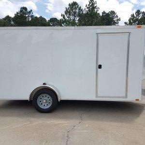 7x14 SA Trailer - White, Ramp, Side Door, Brakes, Extra Height